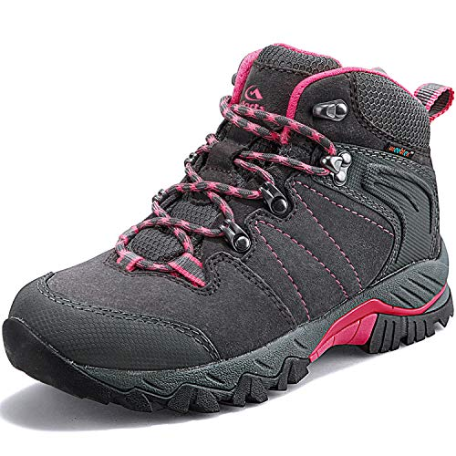 Clorts Women's Classic Hiking Boots Waterproof Suede Leather Lightweight Hiking Shoes Grey/Pink US Women Size 7.5 Medium Width ()