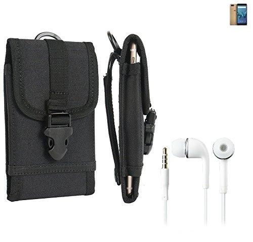 bolsa del cinturón / funda para Wiko Tommy 3, negro + Auriculares   caja del teléfono cubierta protectora bolso - K-S-Trade (TM)