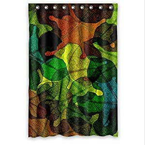 Best Custom Curtain-Colorful Stained Glass Leaves Pattern Design,Stained Glass Custom 100% Polyester Waterproof Shower Curtain 48 x 72