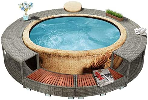 vidaXL Spa Surround Weather Resistant Steel Frame Garden Backyard Patio Hot Tub Surround Grey 111.4″ Poly Rattan