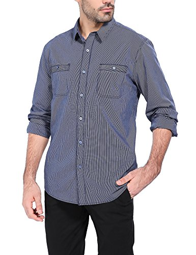 Bentibo Mens Blue Twill Chambray Long Sleeve Button Casual Dress Shirt Relaxed Fit XL (Double Pockets Long Sleeve)
