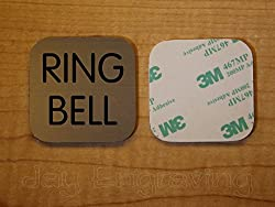 Engraved 2x2 RING BELL Brushed Metal Finish Plastic Plate   Door Bell Tag Sign   Adhesive Back   Engraving Small Business Home Office Wall Plaque Doorbell Home Security Sign Placard