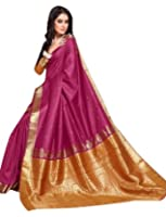 Craftsvilla Women's Bangalore Silk Jacquard Maroon Saree with blouse piece