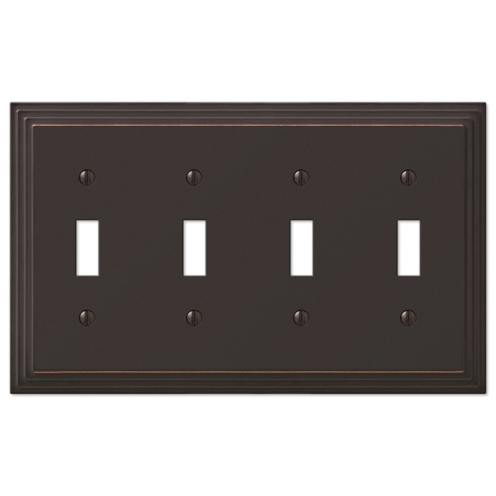 Step Design Four Toggle Wall Switch Plate Cover - Oil Rubbed Bronze