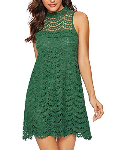 ROMWE Retro Floral Lace Sleeveless Summer Wedding Dinner Evening Cocktail Party Dress Green L