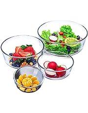 Glass Baking Bowl Large Salad Bowl for Oven/Microwave/Freezer Glass Serving Bowls Soup Crocks Set of 4