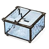 J Devlin Box 185-3 Double Hinged Blue Stained Glass Jewelry Keepsake Box Decorative Trinket Box