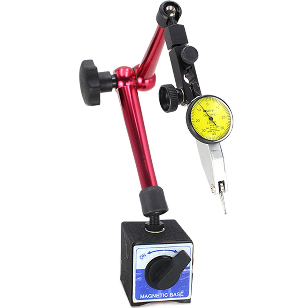 Luerme Adjustable Magnetic Dial Gauge Stand Base Holder Digital Level Dial Test Indicator Flexible Arm for Dial Gauge and Comparator (Small)