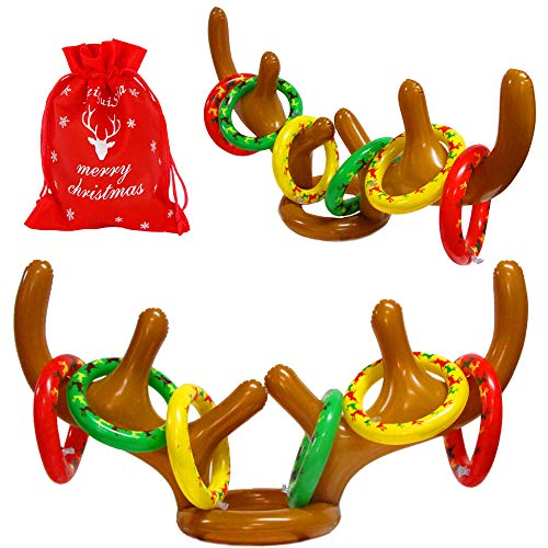 MeiGuiSha Inflatable Reindeer, 2 Pack Inflatable Reindeer Antler Ring Toss Game for Christmas Party (2 Antlers&12 Rings&1 Gift Bag)