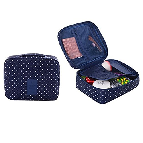 CalorMixs Travel Cosmetic Bag Printed Multifunction Portable Toiletry Bag Cosmetic Makeup Pouch Case Organizer for Travel (Navy Circle) by CalorMixs