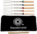 """Peaceful Livin' Marshmallow Roasting Sticks for Smores +Anti-Mosquito Bracelets / 20 Bamboo Skewers - Family Campfire Bundle BBQ Kabobs Set - 32"""" Long Extending Telescopic Hot Dog Roaster Forks"""