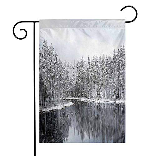 Portly Birds Garden Flag - seedine Decorative Garden Flag Farmhouse Lawn Woodland Lake Surrounded by Snow Covered Trees on a Cold Winter Day in Finland Reflections 12.5 x 18 Inch White Brown