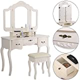 Tri Folding Mirror Black Wood Vanity Set Makeup Table Dresser 5 Drawers + Stool (White)