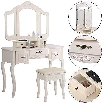 Amazon Com Azadx Makeup Table Set Tri Folding Mirror