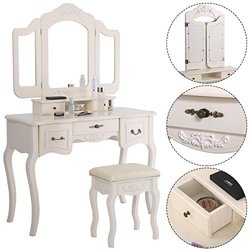 Azadx Makeup Table Set,Tri-Folding Mirror Vanity Table Set Dressing Table Organizers with Cushioned Stool Bedroom White-5 Drawer