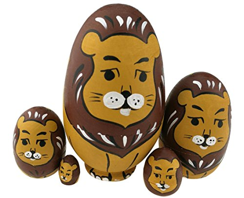 Winterworm Cute Egg Shape Animal Theme Handmade Wooden Russian Nesting Dolls Matryoshka Dolls Set 5 Pieces for Kids Toy Birthday Christmas Easter Gift Home Decoration-Lion