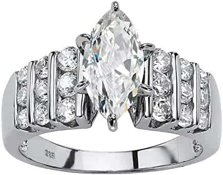 cee41d69875e5b Platinum over Sterling Silver Marquise Cut Cubic Zirconia Channel Set Engagement  Ring