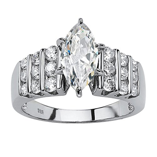 - Platinum over Sterling Silver Marquise Cut Cubic Zirconia Channel Set Engagement Ring Size 10