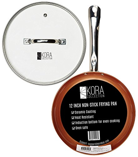 Largest Non Stick Round Copper Frying Pan with Lid | 12 inch even cooking heat induction bottom. No Oil needed! Ceramic Coating, Healthy, Easy cleaning, dishwasher safe, oven safe