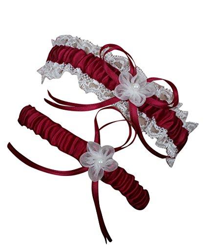 NYARER Women's Garter with 2 Pieces Packing for Wedding Bride Burgundy (3 Piece Stretch Garter)