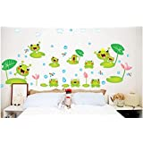 Lovely Animal Pond Wall Sticker Jumping Frogs with Dragonflies and Lotus Nursery Wall Decal