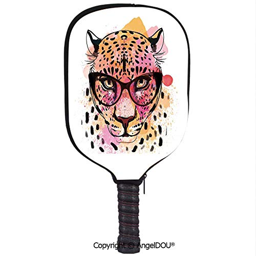 AngelDOU Fashion House Decor Lightweight Neoprene Pickleball Paddle/Racket Cover Case Watercolor Portrait of Leopard with Glasses Splashing Paint Style Durable and Portable.Orange Pink