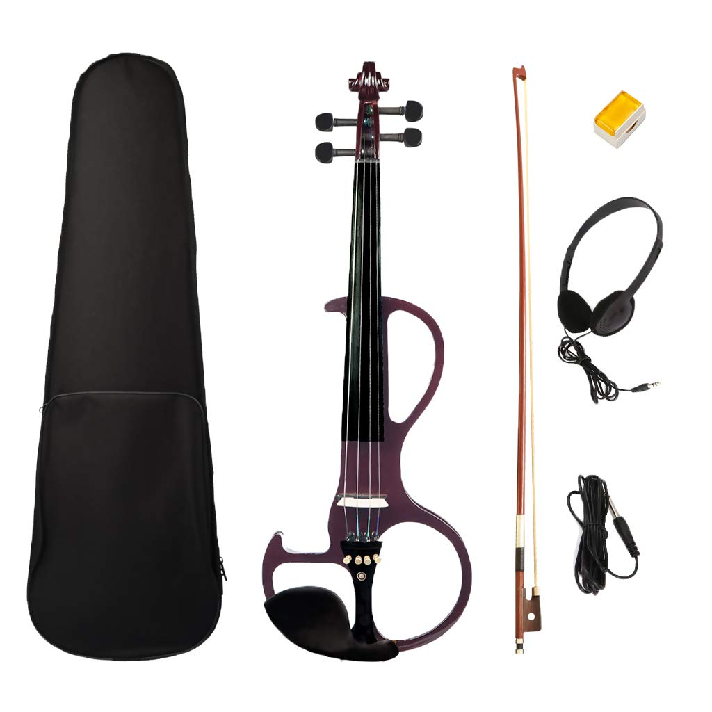 Homyl Electric Silent Violin Dark Red with Rosin Bow Hard Case Headphone Cable, 4/4