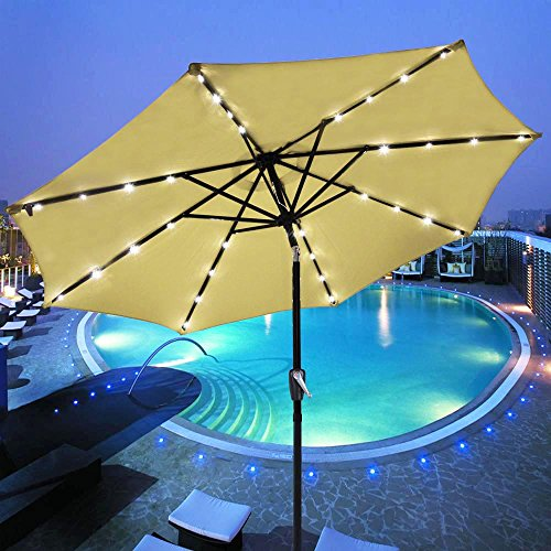 Yescom 9' Beige Outdoor Patio Garden Deck Aluminium Umbrella w/ 32 Solar Powered LED Crank Tilt UV30 (Night Garden Umbrella)