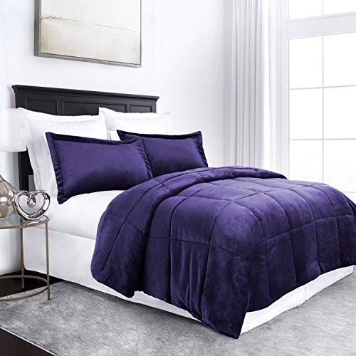 Sleep Restoration Micromink Goose Down Alternative Comforter Set - All Season Hotel Quality Luxury Hypoallergenic Comforter/Blanket with Shams -King/Cal King - Purple