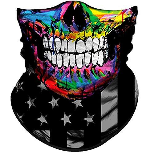 (Obacle Skull Face Mask Half Sun Dust Wind Protection, 3D Tube Mask Seamless Durable Face Mask Bandana Skeleton Face Mask Motorcycle Bike Riding Fishing Hunting Cycling Festival (Hip-Hop Flag Skull))