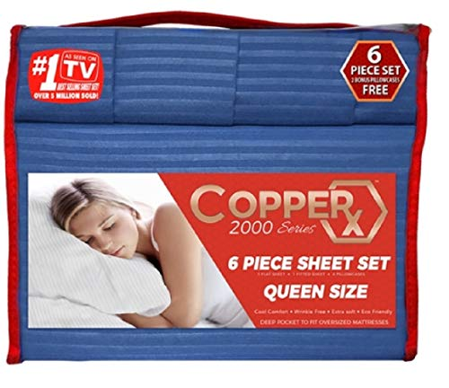 (Copper X 6 Piece Sheet Set Queen (Royal Blue) 2000 Series)