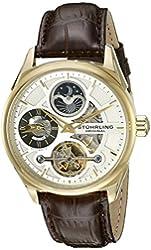 Stuhrling Original Men's 657.03 Delphi Automatic Self Wind Skeleton AM/PM Dual Time Brown Leather Strap Watch