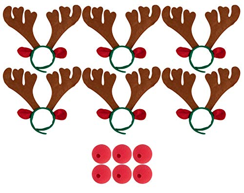 Juvale Reindeer Costume Accessories - 6-Set Party Supplies Includes 6 Santa's Reindeer Antler Headbands and 6 Red Foam Noses, for Halloween, Christmas, for Kids