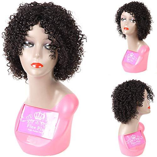12 inch Short Bob Wigs Brazilian Deep Curly None Lace Frontal Wigs Short Human Hair Wigs for Black Women 150% Full Density Unprocessed Virgin Hair Wigs 100% Human Hair Wigs for Women Natural Color