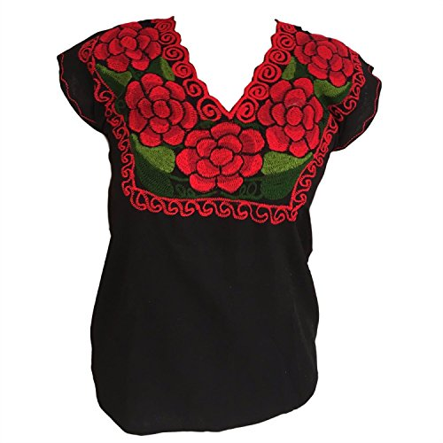 Mexican Embroidered Blouse (Casa Fiesta Designs Floral Mexican Blouse - Authentic Embroidered Chiapas Blouse - 100% Handmade - Black with Red Flowers (Large))