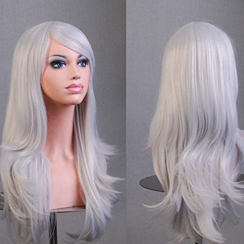 Fibre Wig - Anime Cosplay Synthetic Wig 11 Colors Japanese Kanekalon Heat Resistant Fiber Full Wig with Bangs Long Layered Curly Wavy Vogue 23'' / 58cm for Women Girls Lady Fashion and Beauty (silvery gray)