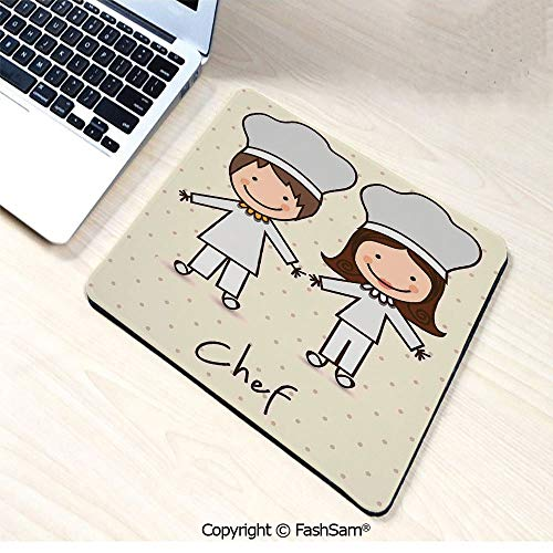 Desk Mat Mouse Pad Chef Hat and Uniform Kitchware Vintage Style Design Home and Cafe Polkadots Kids for Office(W7.8xL9.45)