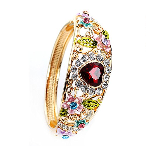 Women Heart Austrian Crystal Enamel Rose Flower Leaf Bangle Bracelet Gold (Multi Color Enamel Bracelet)