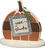 PBK Fall Decor - Sm Chunky Wood Give Thanks Prim Pumpkin