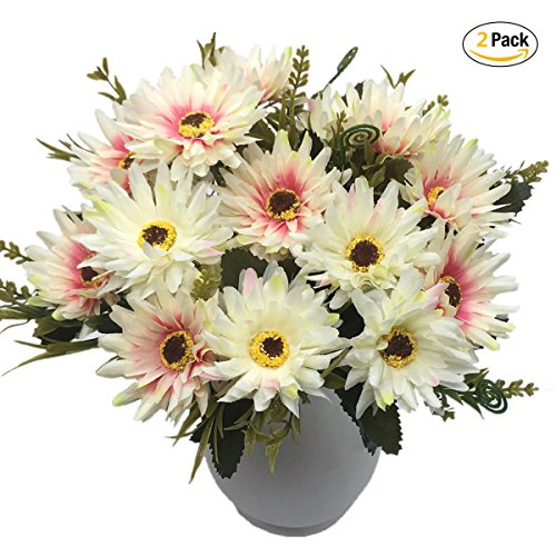 Artificial Chrysanthemum Flowers, Vintage Silk Herbaceous Daisy Fake Sunflowers Bouquet Home Bridal Wedding Hotel Office Party Garden Centerpieces Arrangements Simulation Craft Decoration White (Gerbera Flower Arrangements)