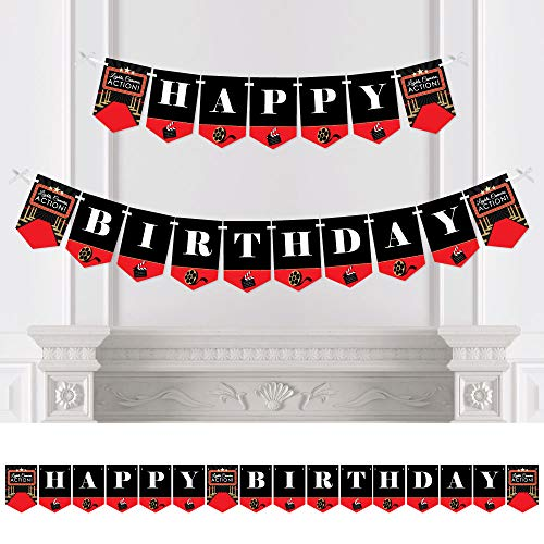 Big Dot of Happiness Red Carpet Hollywood - Movie Night Birthday Party Bunting Banner - Birthday Party Decorations - Happy Birthday