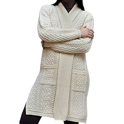 Ladies Merino Wool Edge to Edge Long Knit Shawl (X-Small, Natural)