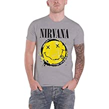 Nirvana T Shirt Smiley Face Splat Band Logo Nevermind Official Mens Grey
