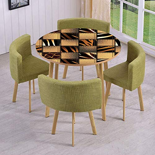 - iPrint Round Table/Wall/Floor Decal Strikers/Removable/Jeans Denim Patchwork in Safari Style Wilderness Stylish Fashionable Design Art/for Living Room/Kitchens/Office Decoration