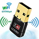 USB Wifi Adapter, LESVIEO 600Mbps Wireless Adapter Wireless Network Adapter MiniUSB Wifi Dongle for Windows 10 8 7 MAC OS ( Dual Band 2.4GHz/150Mbps + 5GHz/433Mbps )