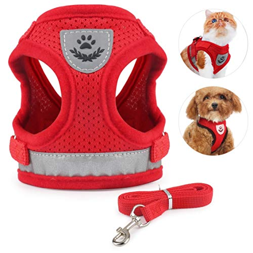 Idepet Cat Harness and Leash for Walking Adjustable Soft Mesh Vest Harnesses with Reflective Strap Metal Leash Ring Metal Clip for Small Medium Large Cats Pets Kitten Puppy Rabbit (S, Red)