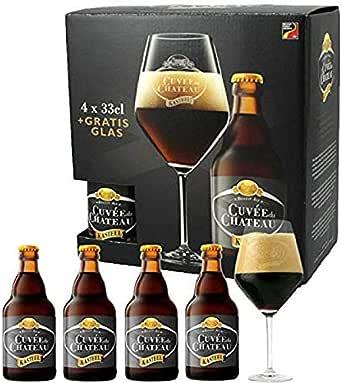Brasserie Van Honsebrouck - Estuche Kasteel Cuvee 4*33Cl + 1 Vaso: Amazon.es: Alimentación y bebidas