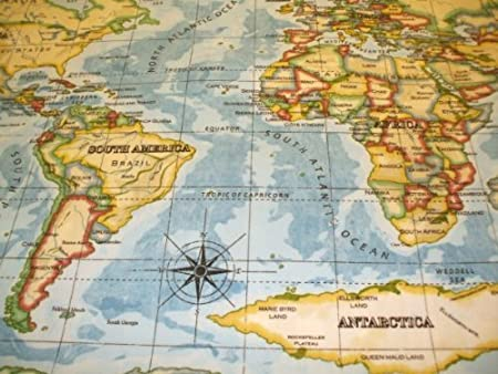 World atlas map on blue wipe clean oilcloth tablecloth 132cm x 1 world atlas map on blue wipe clean oilcloth tablecloth 132cm x 1 metre gumiabroncs Images