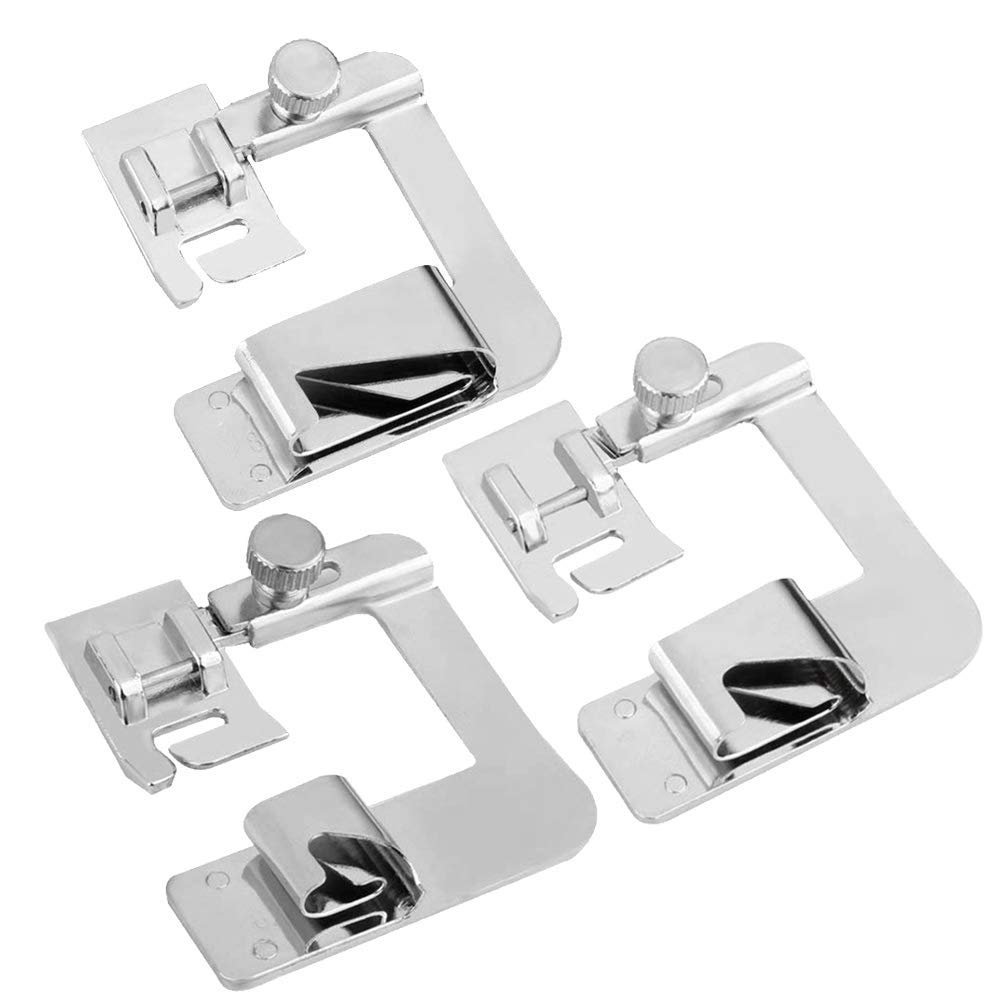 3 Sizes Universal Rolled Hem Presser Feet Sewing Machine Presser Foot Hemmer Foot Set(4/8 Inch, 6/8 Inch, 8/8 Inch) Fit for Most Low Shank Sewing Machines Pveath