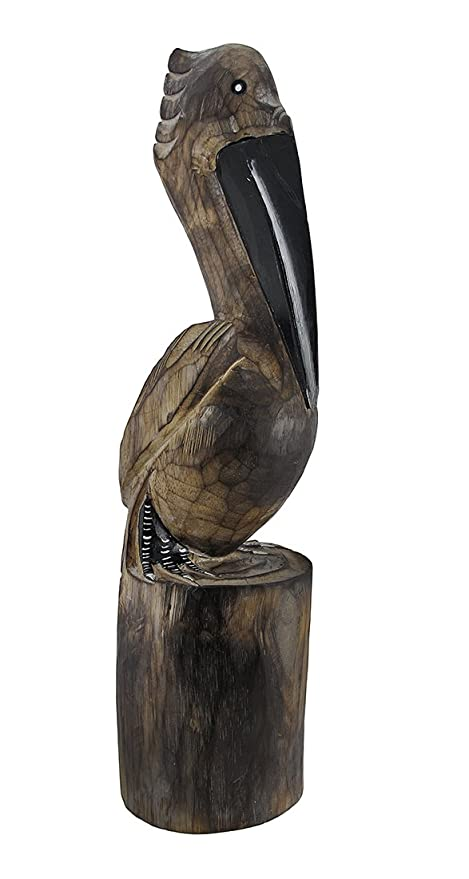 Amazoncom Hand Carved Wooden Pelican Statue Nautical Island Home